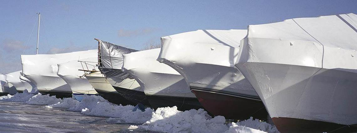 shrink wrapped boats